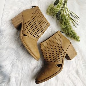 Qupid • Laser Cut Out Ankle Booties